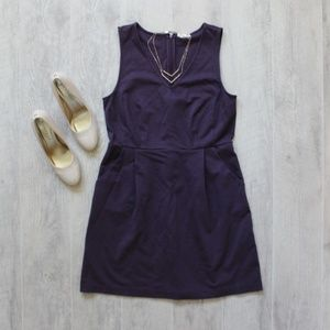 Maison Jules Purple Skater Dress with Pockets Lg